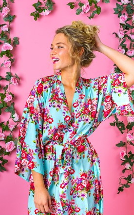 Blue Floral Robe / Kimono / Dressing Gown by The Lovely Little Label