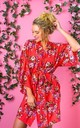 Coral Floral Robe / Kimono / Dressing Gown by The Lovely Little Label