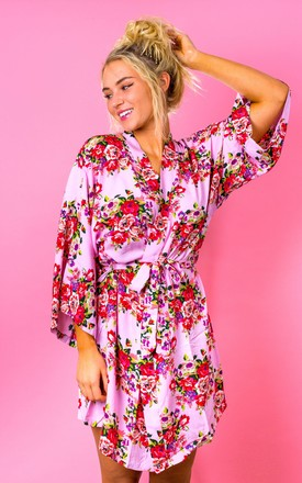 Blush Pink Floral Robe / Kimono / Dressing Gown by The Lovely Little Label