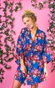 Navy Blue Floral Robe / Kimono / Dressing Gown by The Lovely Little Label