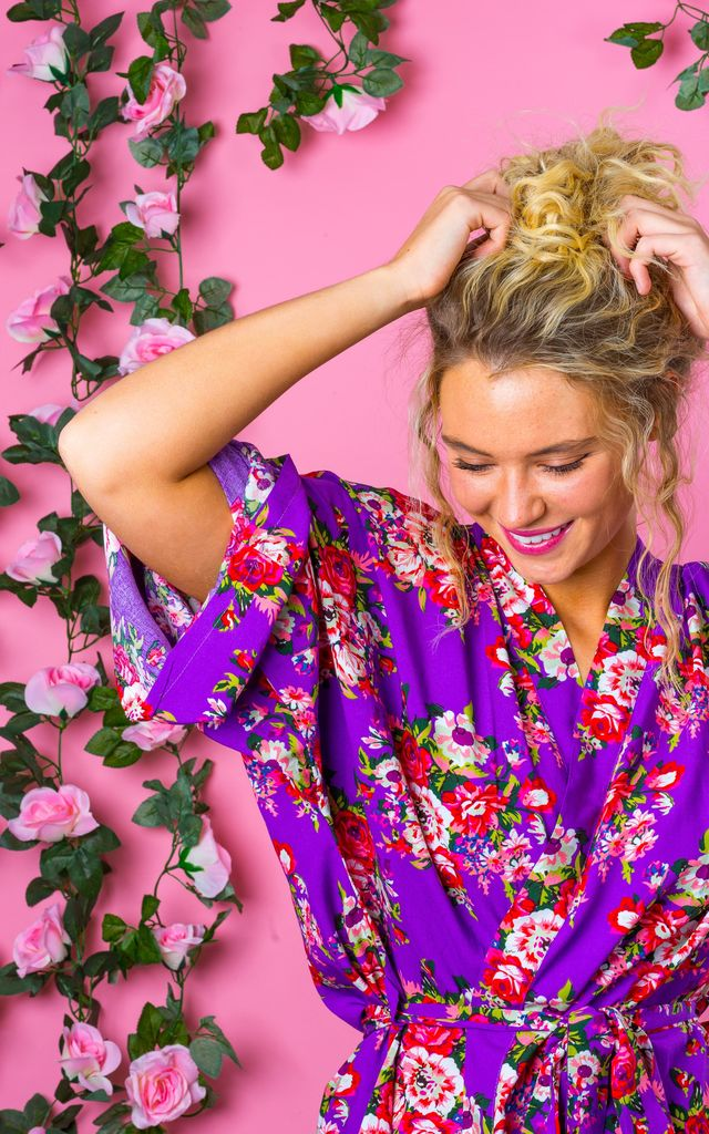 Purple Floral Robe / Kimono / Dressing Gown by The Lovely Little Label