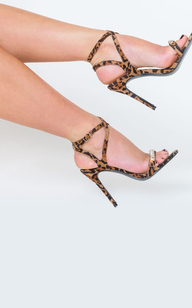 Lila Leopard Print Diamante Detail Heels by Poised London