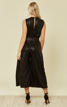 Black Snake Print Leatherette Sleeveless Culotte Jumpsuit by Prodigal Fox