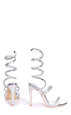 Marcie Silver Structured Spiral Wrap Around Heel by Linzi
