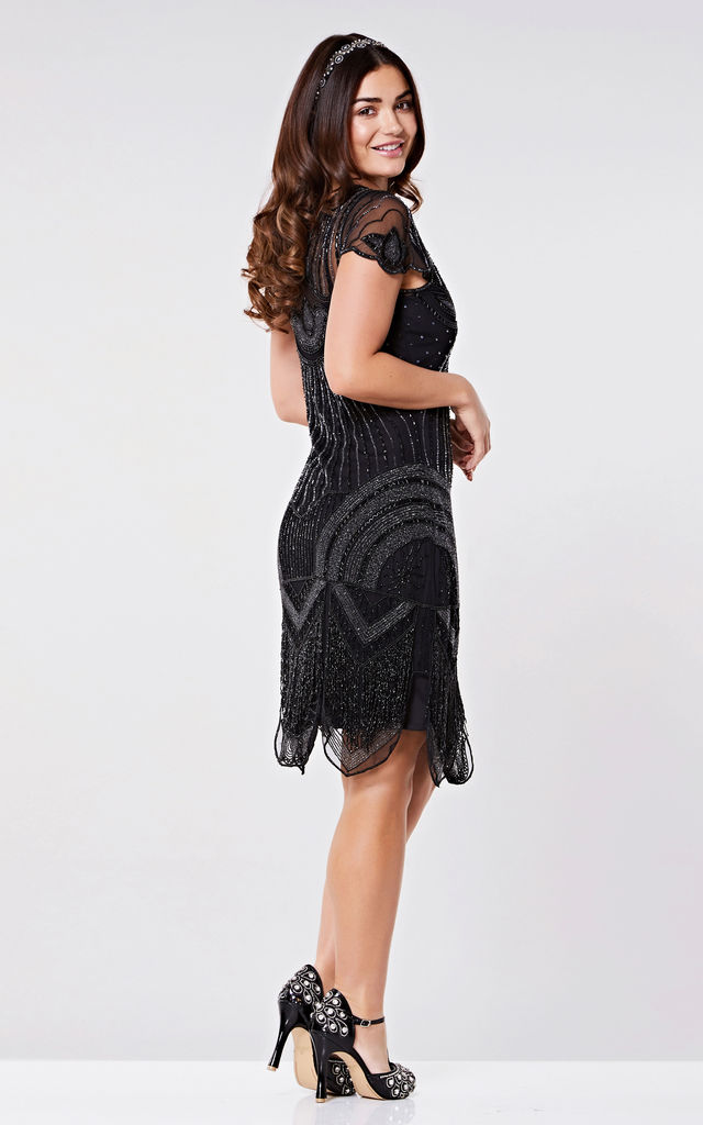 Beatrice Vintage Inspired Fringe Flapper Dress in Black by Gatsbylady London