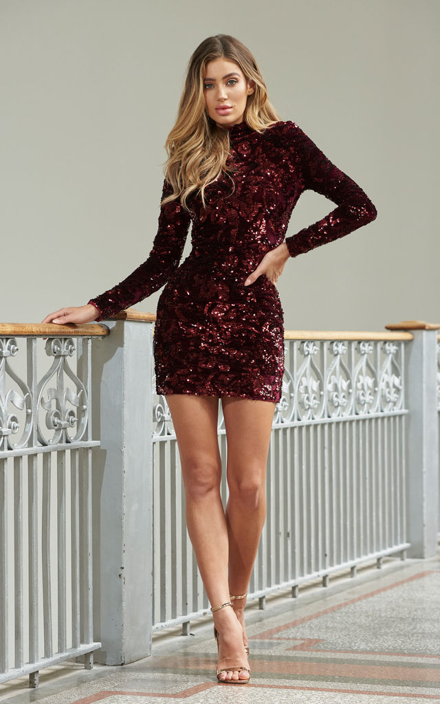 d853f967176c Berry Velvet Sequin High Neck Mini Dress | Club L London | SilkFred
