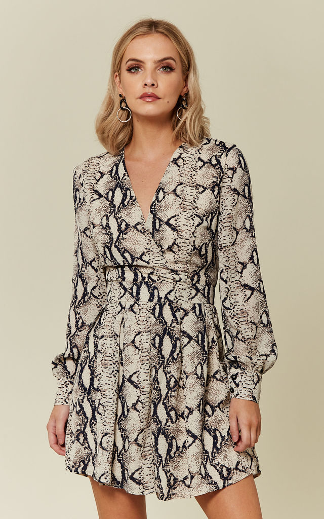 58b4083f4f5 Katie Wrap Long Sleeve Playsuit Snake Print by Girl In Mind