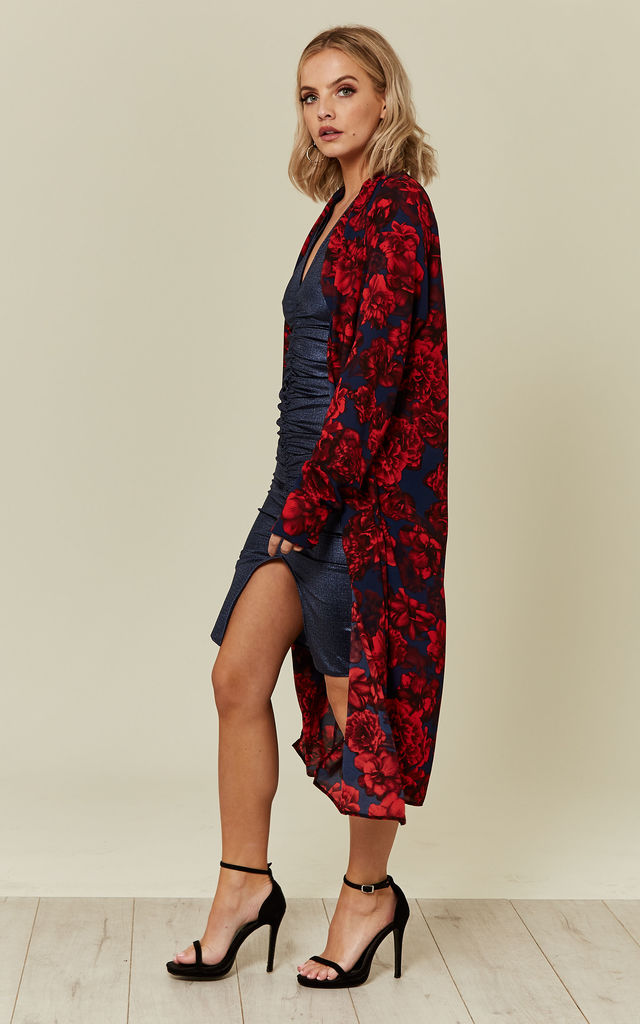 Navy/Red Floral Duster Coat by Prodigal Fox