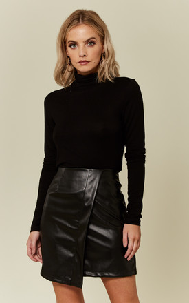 Black Asymmetric PU Mini Skirt by UNIQUE21
