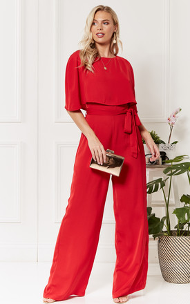 Charlotte Red cape jumpsuit by Luna