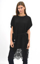 Oversized top with lace trim in black by Lucy Sparks