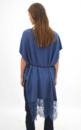 Oversized top with lace trim in blue by Lucy Sparks
