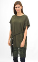 Oversized top with lace trim in khaki by Lucy Sparks