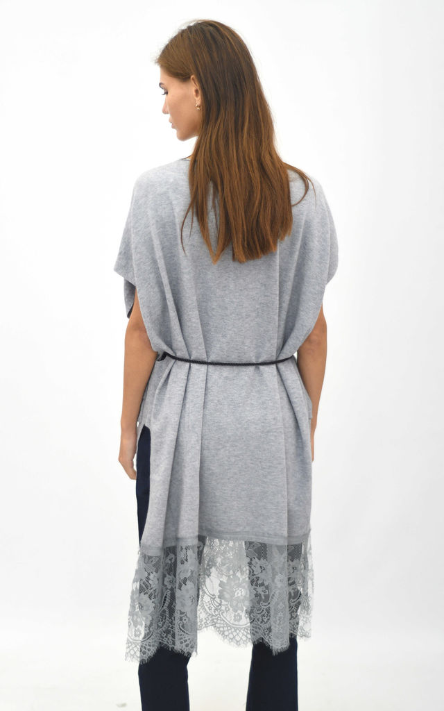 Oversized top with lace trim in light grey by Lucy Sparks