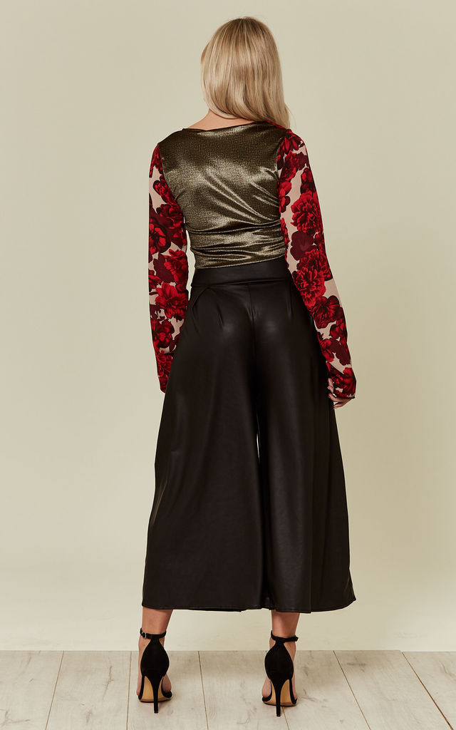 Black Snake Leatherette Pleat Front Culottes by Prodigal Fox