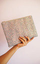 Glitter Clutch Bag in Grey & Rose Gold by Suki Sabur Designs