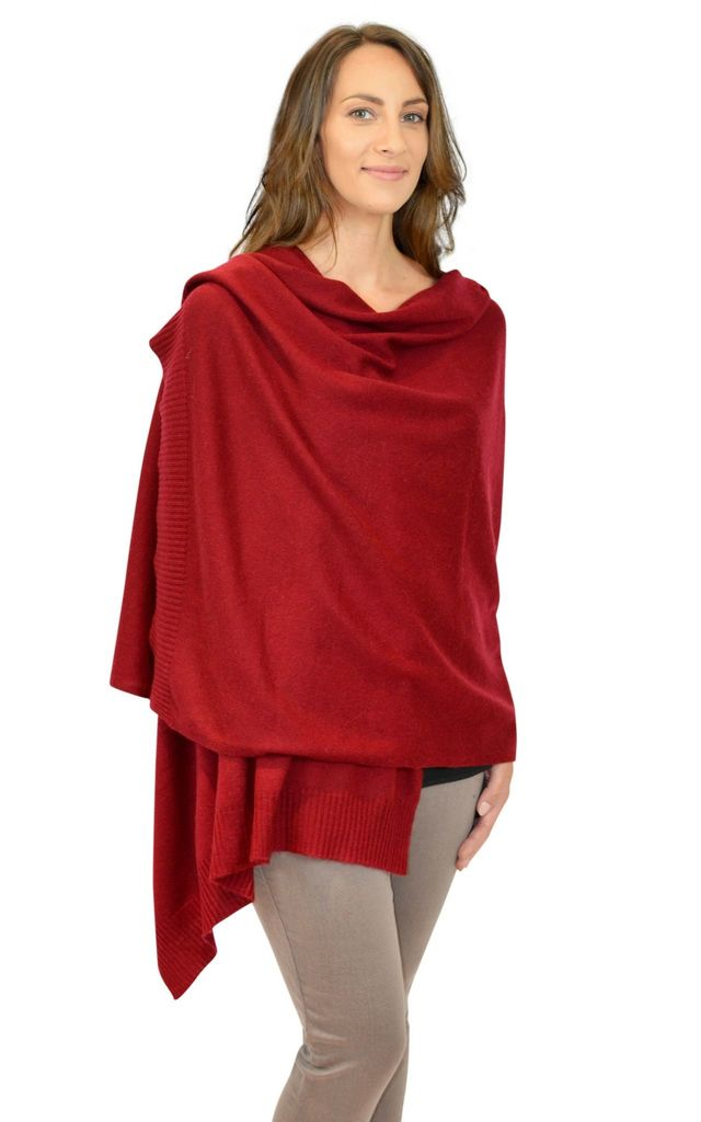 Burgundy Dark Red 100% Cashmere Large Travel Wrap Scarf by Mimi & Thomas® cashmere & leather