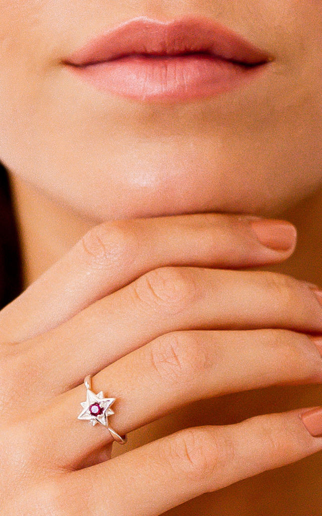 Guiding North Star Silver Ring in Rhodolite by Charlotte's Web