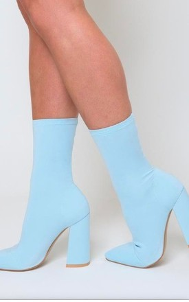 Esme Block Heel Sock Boot in Pastel Blue by Poised London