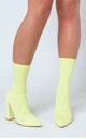 Esme Block Heel Sock Boots in Pastel Lemon Lycra by Poised London