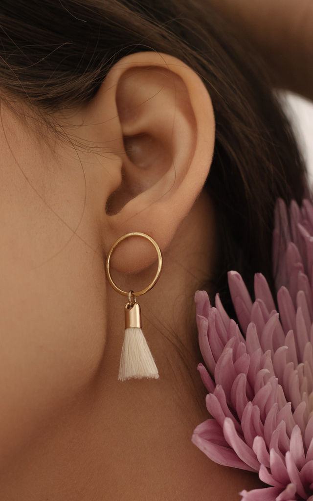 Solar Tassel Earrings in Cream by Apache Rose London