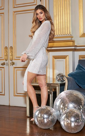 Silver Sequin Plunge Mini Dress by Club L London
