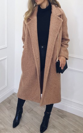 Betty Oversized Teddy Coat - Camel by Pretty Lavish