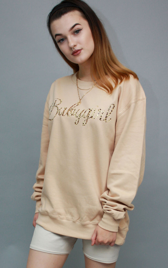 Sweatshirt in Nude with Leopard Print Babygirl Slogan Jumper Oversized Tops by Save The People