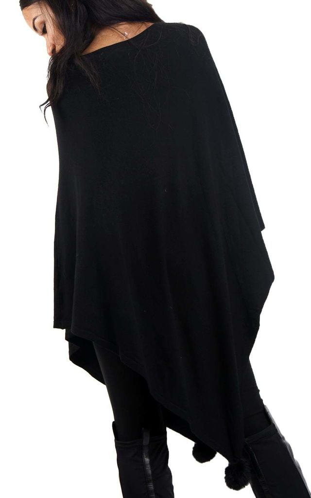 Black Rose Diamante Detail Soft Knitted Pull Over Poncho With Pom Pom by Urban Mist