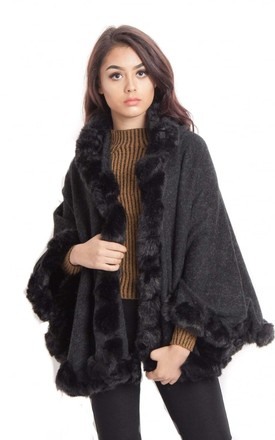 Black Knitted Soft Faux Fur Trim Short Poncho With Sleeves by Urban Mist