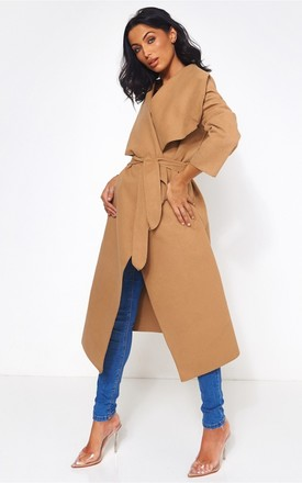 Khloe Camel Waterfall Coat by The Fashion Bible Product photo