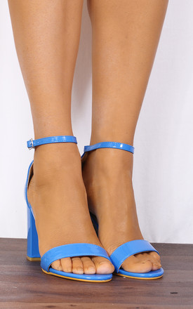 Barely There High Heel Sandals in Blue Patent by Shoe Closet