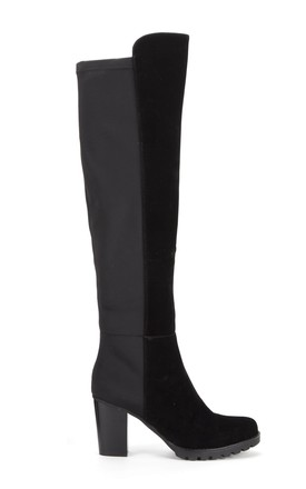 Black Elasticated Cleated Platforms Knee High Heeled Boots by Shoe Closet