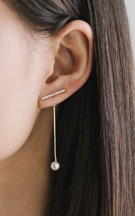Silver Henna Crystal & Pearl Ear Jackets by Apache Rose London Product photo