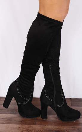 Black Sock Stretch Over Knee High Heeled Heels Boots by Shoe Closet