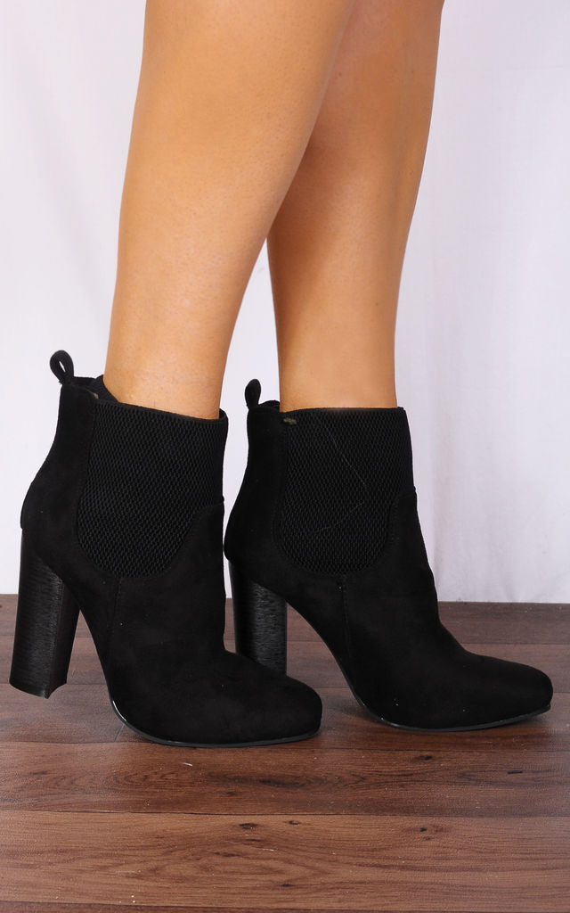 Black Chelsea Block High Heeled Ankle Boots by Shoe Closet