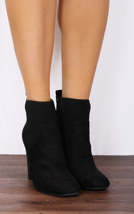 Black Chelsea Block High Heeled Ankle Boots by Shoe Closet Product photo