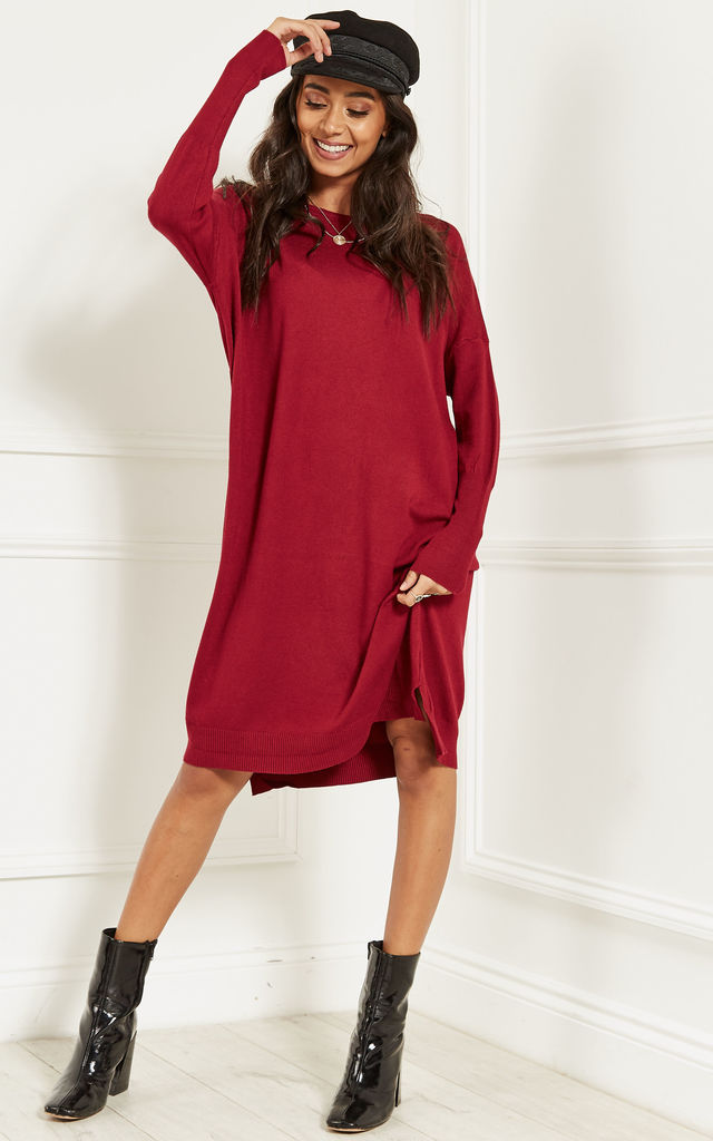 fad77fadc6a Wine Oversized Batwing Knit Dress by Lilah Rose