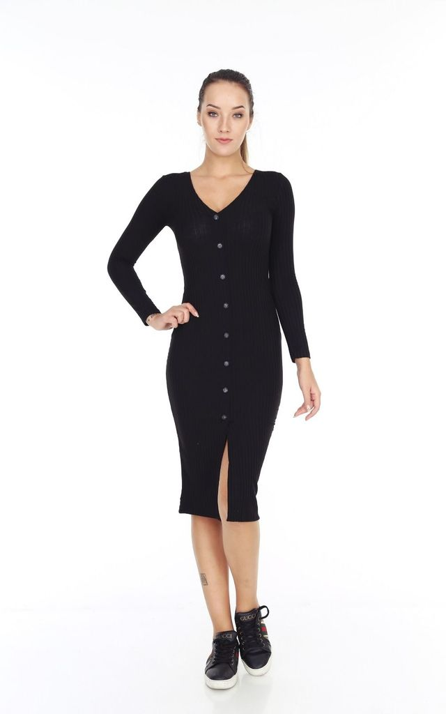 32ddfa48566b8 Fine Knit Black Ribbed Jersey With Buttons And Front Slit Midi Body Con  Dress