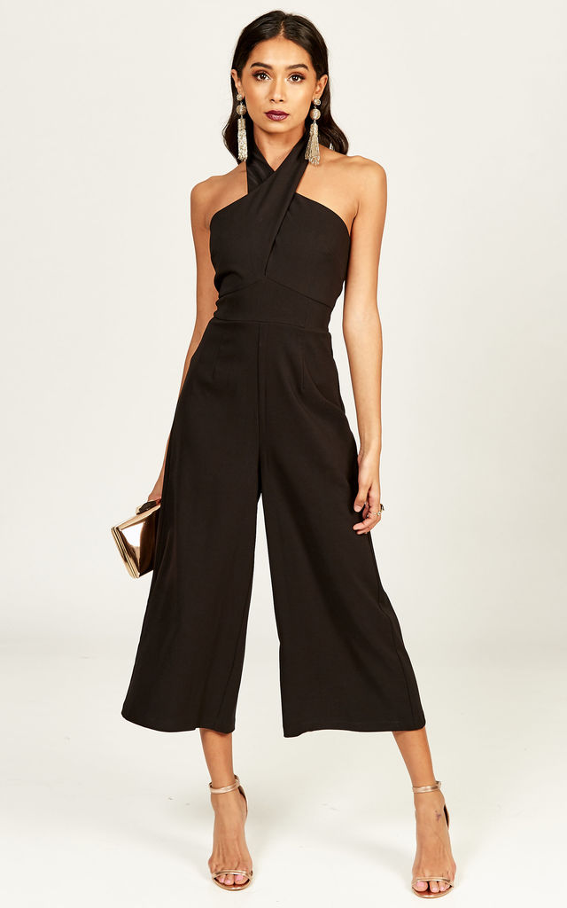 Clarissa Black halter culotte jumpsuit by Phoenix + Feather