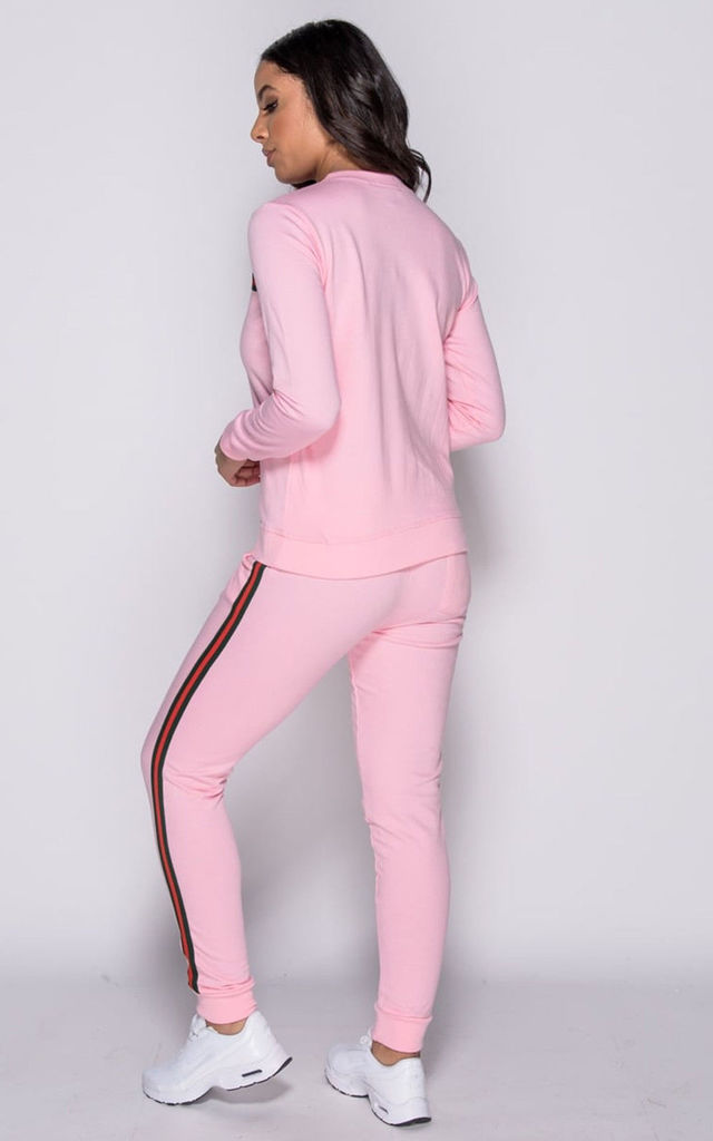 Tracksuit in Pink with Green and Red Stripe by Save The People