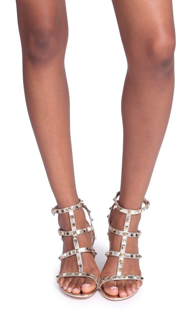 Tessa Gold Block Heel Sandals with Studs by Linzi