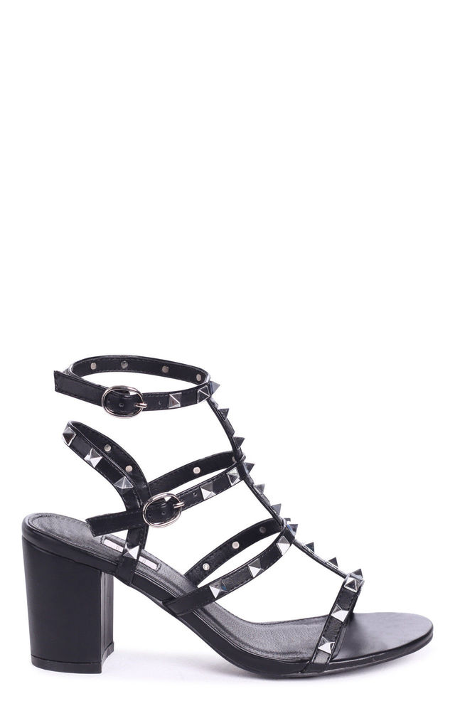 Tessa Black Block Heel Sandals with Studs by Linzi