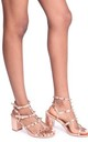Tessa Rose Gold Block Heel Sandals with Studs by Linzi