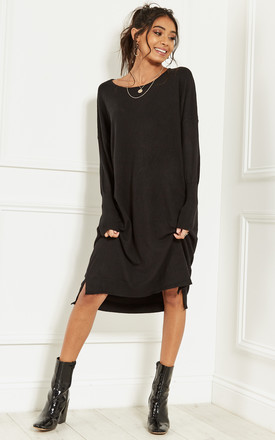 Black Oversized Batwing Knit Dress by Bella and Blue Product photo