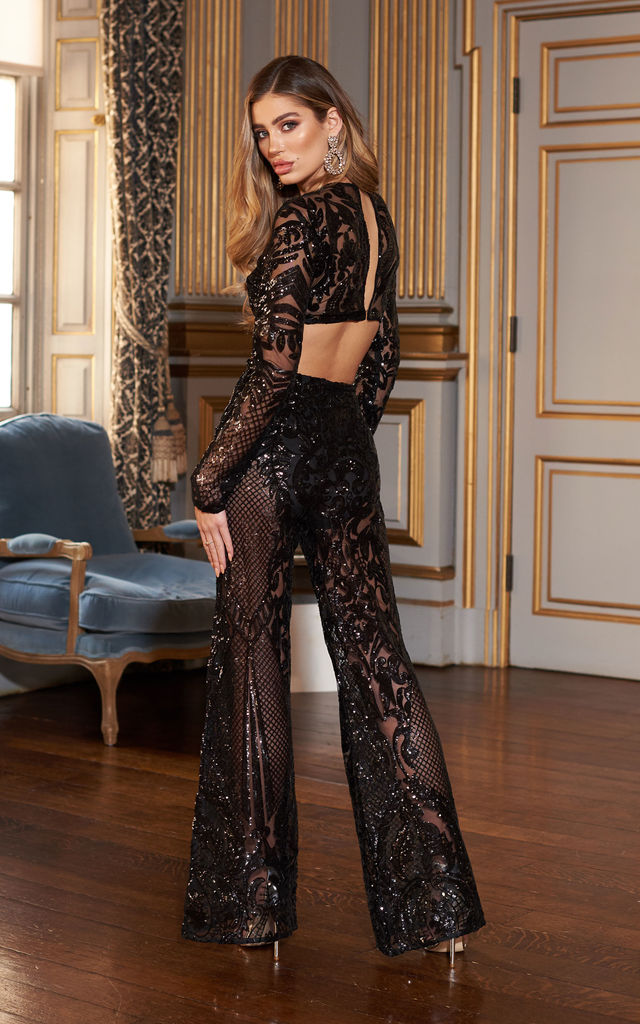 6329aede0e39 Black Baroque Geo Sequin Crop Top | Club L London | SilkFred