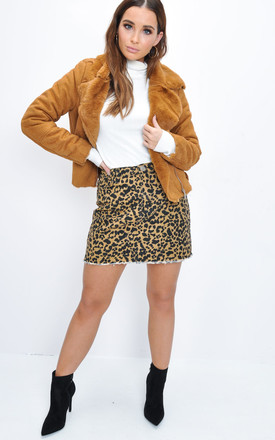 Faux Suede Faux Fur Lined Crop Biker Jacket Tan Brown by LILY LULU FASHION