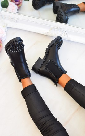 Spike Studded Chelsea Ankle Boots - Black by AJ | VOYAGE