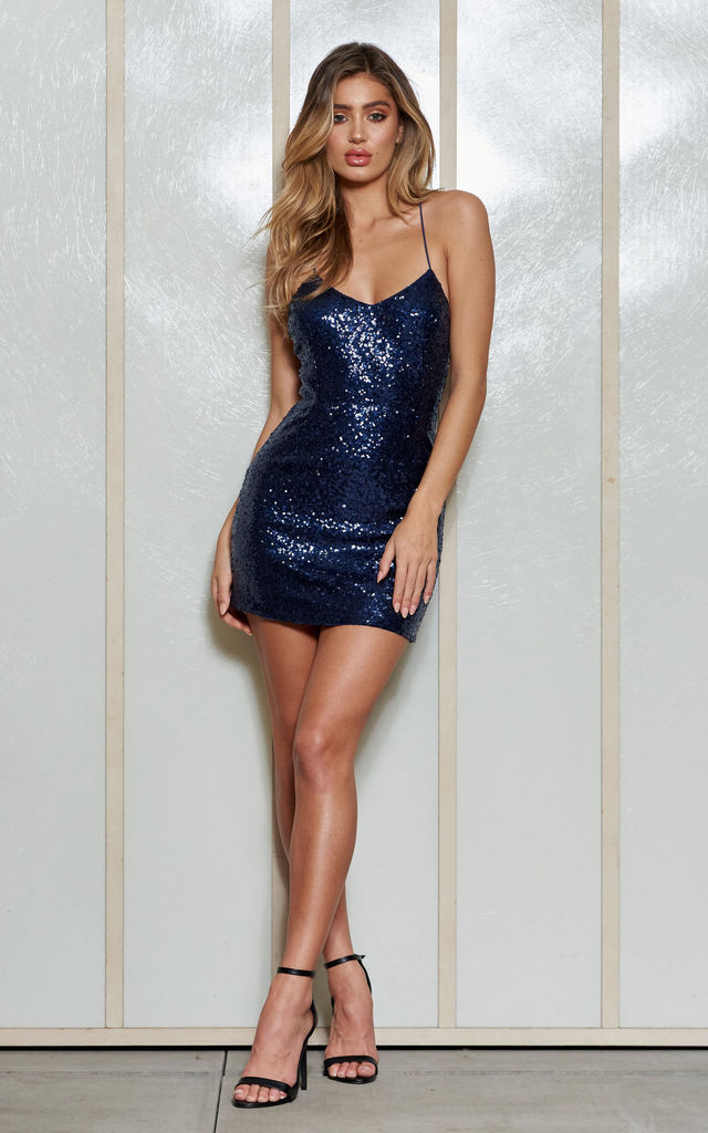 9460affe47e5 Navy Sequin Strappy Mini Dress | Club L London | SilkFred