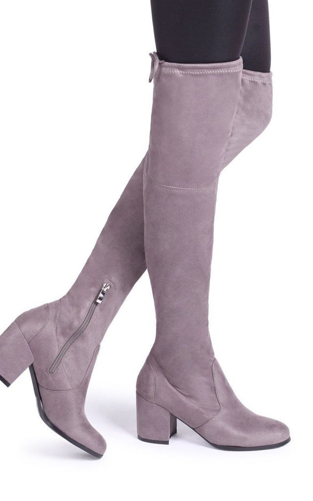 Amber Grey Suede Block Heeled Over The Knee Boot with Tie Up Back by Linzi
